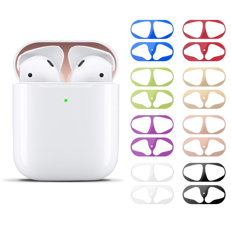 1set ultra slim skin metal dust proof cover dust guard protective sticker earphone charge box decor paster for Apple Airpods 1 2 in Earphone Accessories from Consumer Electronics