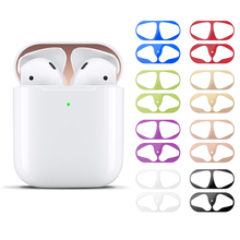 1set ultra slim skin metal dust proof cover guard protective sticker earphone charge box decor paster for Apple Airpods 1 2
