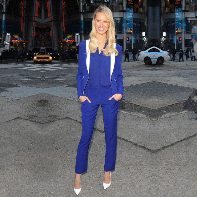 af5cbd1c0 US $93.06 6% OFF|Royal Blue Women Business Pants Suits Casual Female Slim  Fit OL Office Uniform Style White Lapel Ladies Trouser Suit Custom Made-in  ...