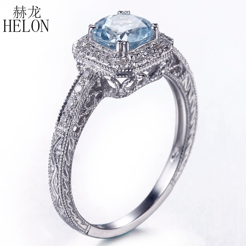HELON Vintage Filigree Antique Round 6mm Blue Topaz Ring Sterling Silver 925 Fine Diamonds Engagement Wedding Ring For Women цена в Москве и Питере