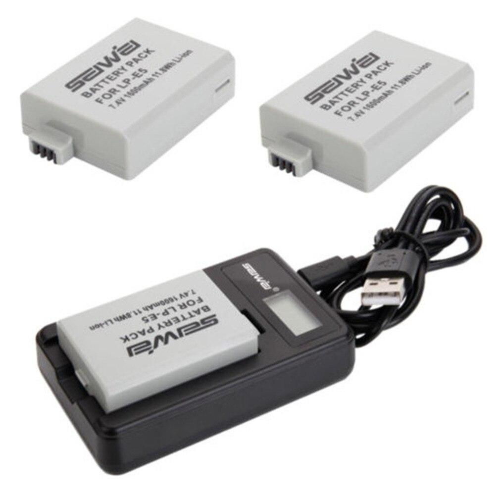 SEIWEI 2 x LP-E5 1600 mAh Caméra Batterie LCD USB Double Chargeur Kit Pour Canon EOS 1000D 450D 500D 1000D Digital Rebel Xsi chargeur