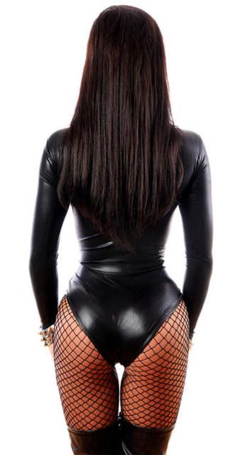 placeholder Plus Size XL Women Sexy Black PVC Jumpsuit Bandage Gothic Punk  Leather Catsuit Pole Dance Costume 4b1efd6d7