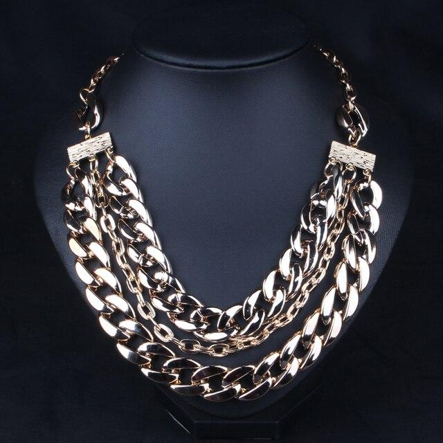 2d736060f131 Moda 2015 enchapado en oro cadena collar de la alta calidad gargantilla  collar de la declaración