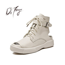 DRFARGO ZC11 Summer Women Boot Genuine Leather Peep Toe Ankl