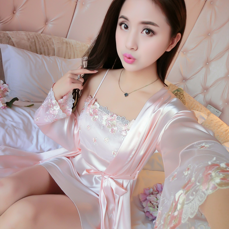 2019 new hot sexy lingerie satin lace kimono intimate sleepwear robe set sexy night gown women sexy underwear solid drop