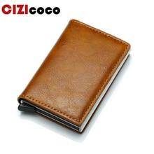 Cizicoco Antitheft Men Vintage Credit Card Holder Blocking Rfid Wallet PU Leather Unisex Security Information  Metal Purse
