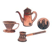 4 Pcs/set Vintage Kopi Seri Bros Latte Art Filter Piala Pot Pin Tombol Gaun Casing Mantel Pin Kerah Fashion perhiasan Hadiah(China)
