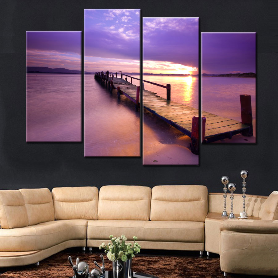 4 Pieces Por Warm Purple Modern Wall Painting Beach Sunset Sea Bridge Home Art Landscape Picture Paint On Canvas Prints Aliexpress Alibaba