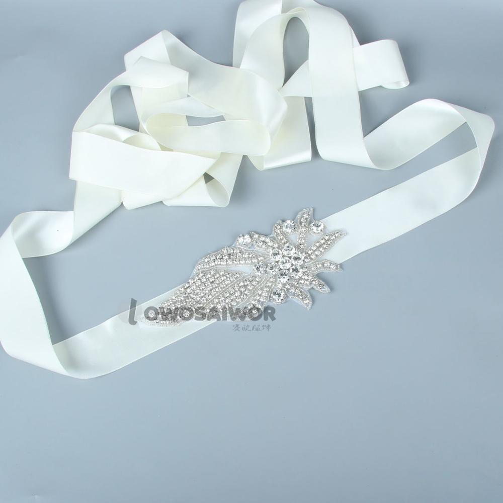 Unique Wedding Dress Sashes Belts: Leaves Shape Crystal Rhinestone Bridal Wedding Sash Unique