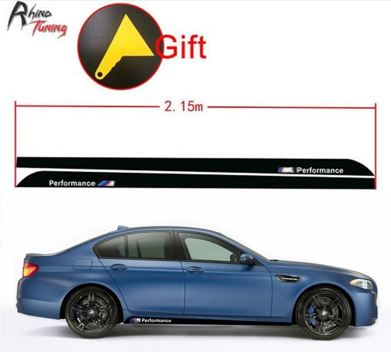 Rhino Tuning 2.15m M Power Car Sticker Performance Carbon Fiber Auto Styling Sticker Decal For M2 M3 X5 X6 M6 20608 universal auto car bumper moulding decorative fins canards front splitter sticker carbon fiber car styling for all cars 4pcs set