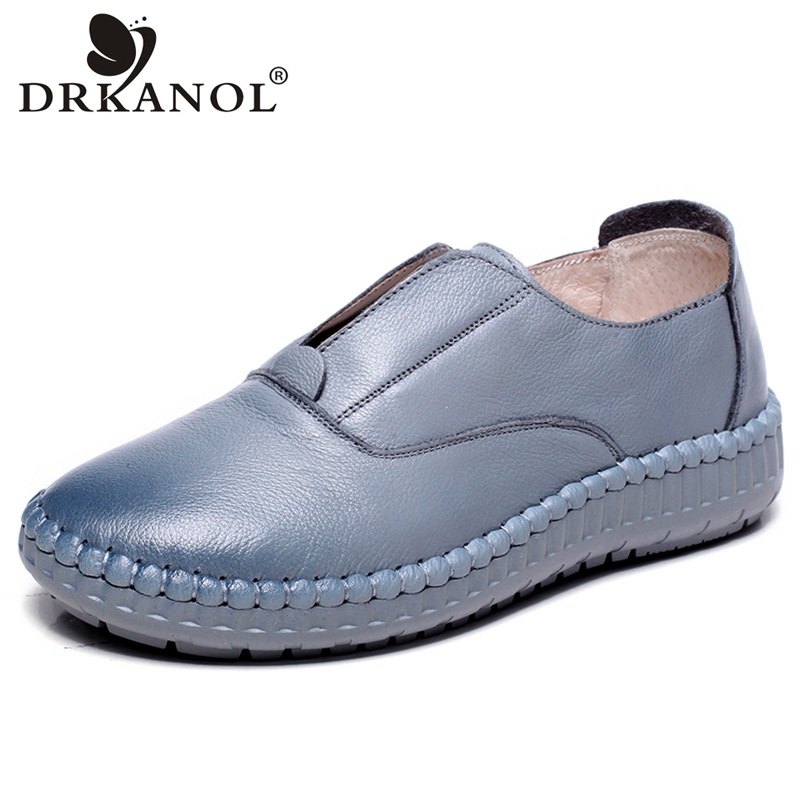 DRKANOL 2018 New Women Shoes Handmade Genuine Leather Women Casual Flat Shoes Soft Slip On Flats Loafers Shallow Ladies Shoes new fashion luxury women flats buckle shallow slip on soft cow genuine leather comfortable ladies brand casual shoes size 35 41