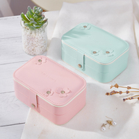 9.6*14.7*6cm Travelling Cosmetic Leather Jewelry Box Necklace bracelet earing Ring Storage Case for jewelry packaging box