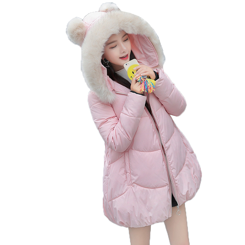 womens winter jackets and coats 2018   Parkas   for women Thicken Warm Hooded Coat Faux Fur Collar Outerwear Ladies Chaqueta