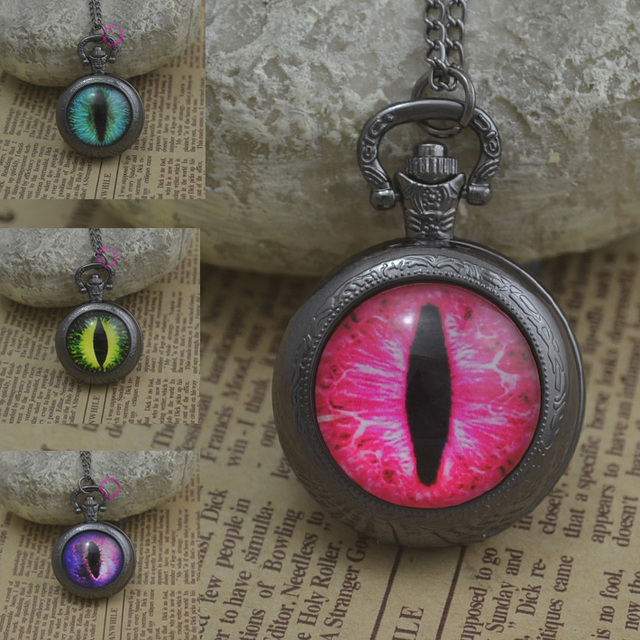 fashion red blue green drgon eye pocket watch necklace woman fob watches black round convex lens glass picture girl cute purple