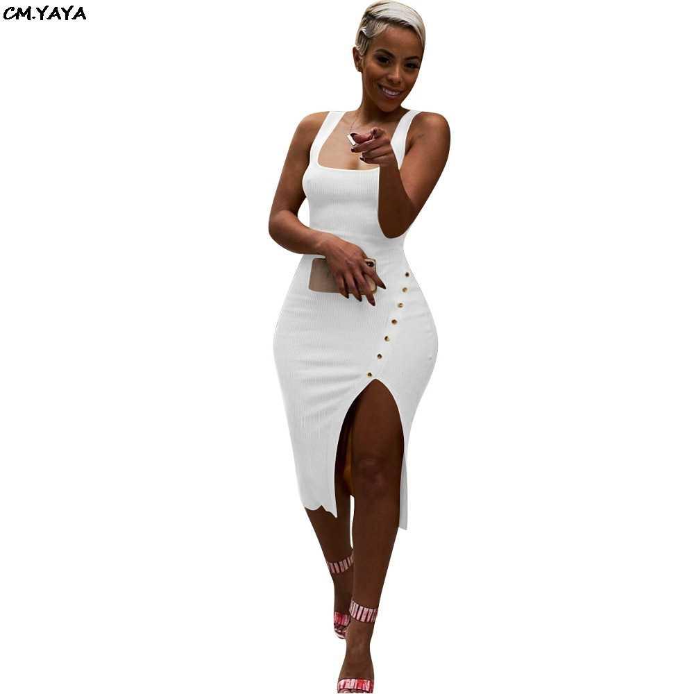 2019 女性の夏のノースリーブサイド串ニットボディコンミディタンクドレス膝丈ヴィンテージセクシーなパーティードレスvestidos LM9065