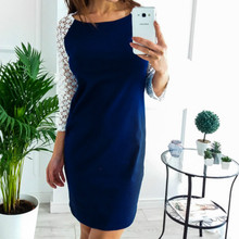2018 Kawaii Girls Dress O-neck Women Hollow Out Mini Dresses Autumn Winter Wrist Sleeve Dress Plus Size Female Clothing GV223