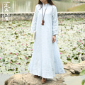 2015 Autumn vintage Chinese style dress natural linen Double Layer long sleeve white literary graceful dress robe