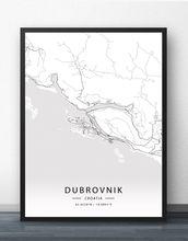 Плакат с картой Дубровника Загреба Хорватии