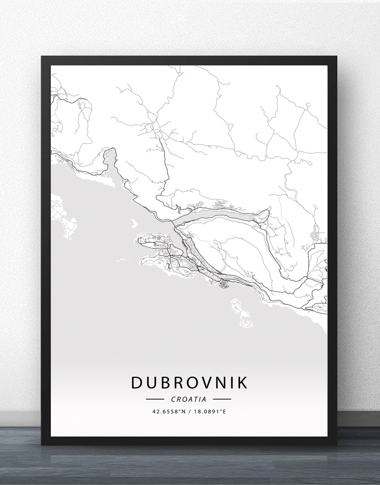 Dubrovnik Zagreb Kroatien Kort Plakat