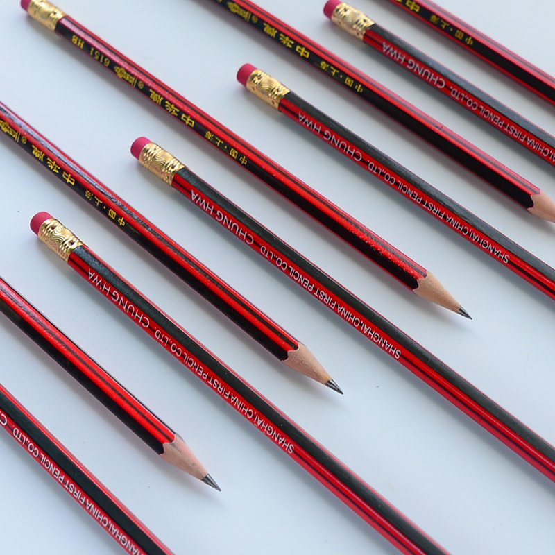 10 Pcs / Lot Red Wooden Pencils HB Pencil With Eraser Head  Mirui Stationery
