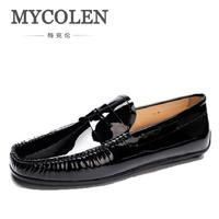 MYCOLEN Crocodile Loafers Luxury Brand Leather Italian Shoes Moccasins White Black Handmade Boat Shoes Zapatos De Hombre