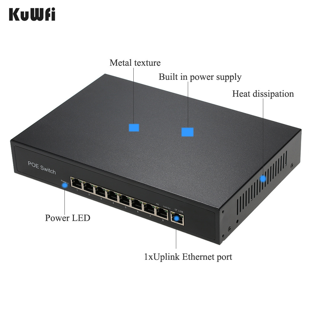 Image 2 - 9 Ports 10/100Mbps Network Switch IEEE 802.3af POE Switch Fast Network Power15.4W/30W over Ethernet for Cameras/AP-in Network Switches from Computer & Office