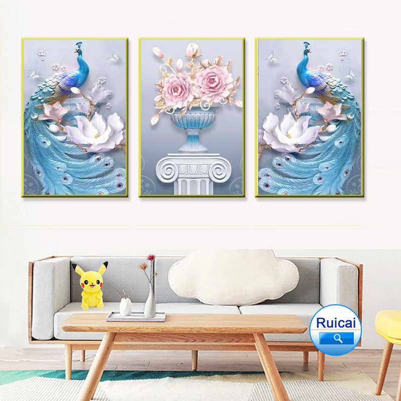 Phong cách Bắc Âu trừu tượng 3 mảnh 3D cặp đôi chim Công Bình hoa in Poster Tranh in canvas sơn tường phòng khách Tranh nghệ thuật
