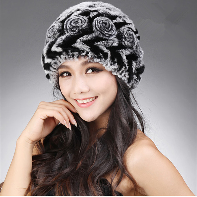 Autumn Winter Women's Genuine Natural Knitted Rabbit Fur Hats Lady Warm Caps Female Ear Protector VF0614