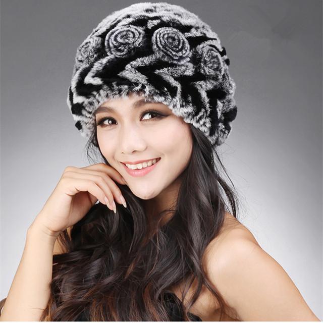 Otoño Invierno Genuino de Las Mujeres Naturales de Punto Piel De Conejo Sombreros de Señora Warm Caps Protector Auditivo Femenino VF0614