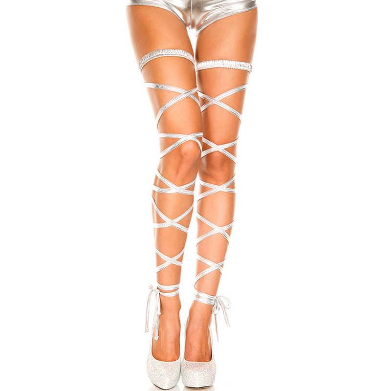 1 cặp đeo chân cực thể dục Dây Nịt Nữ Sáng Bóng Bằng Sáng Chế Da Đeo Chân Thun Đầu Ban Nhạc múa cột tập thể hình rave quần áo