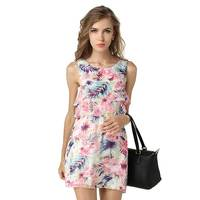 Women Summer Chiffon Dress Sleeveless Vest Floral Printed Fashion Multi Layer Cake Mini Casual Dress For