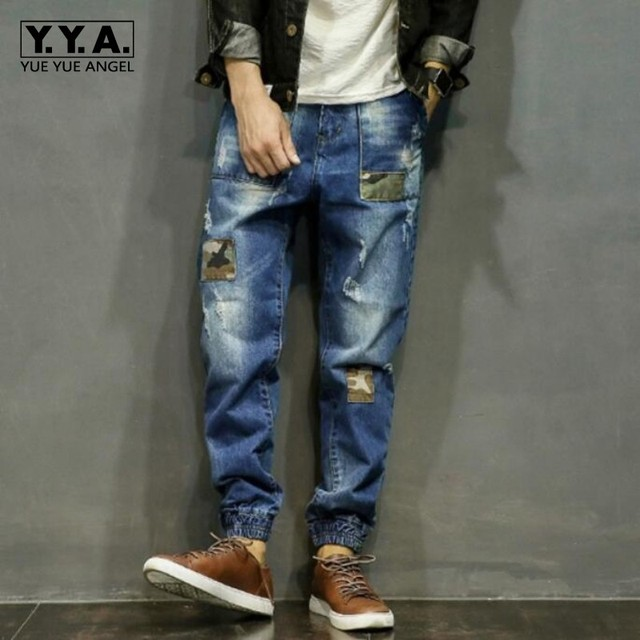 b76ba5987af New Baggy Jeans Men Plus Size Taper Jeans Hole Ripped Casual Pants Hip Hop  Legging Pants Pencil Jeans Plus Size S-4XL