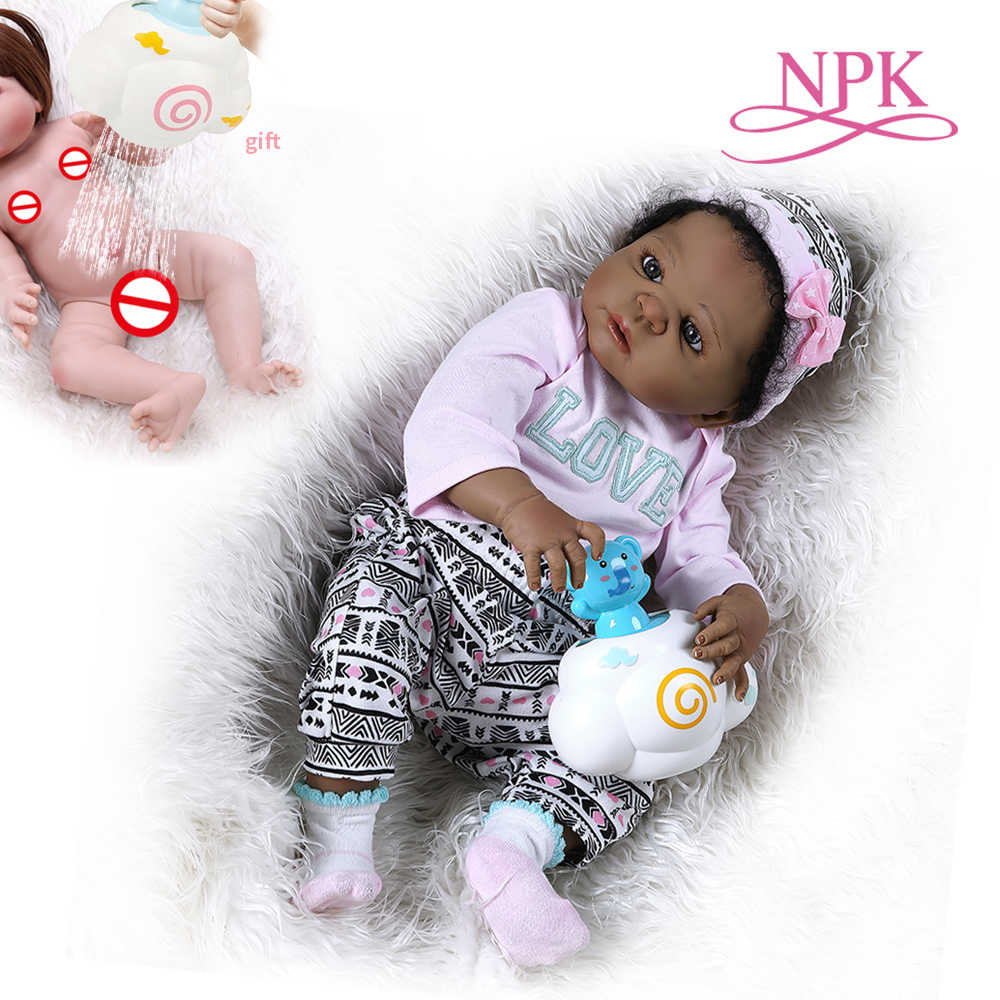56CM African American reborn baby girl doll in black  full body soft silicone  bebe doll reborn  Bath toy Anatomically Correct