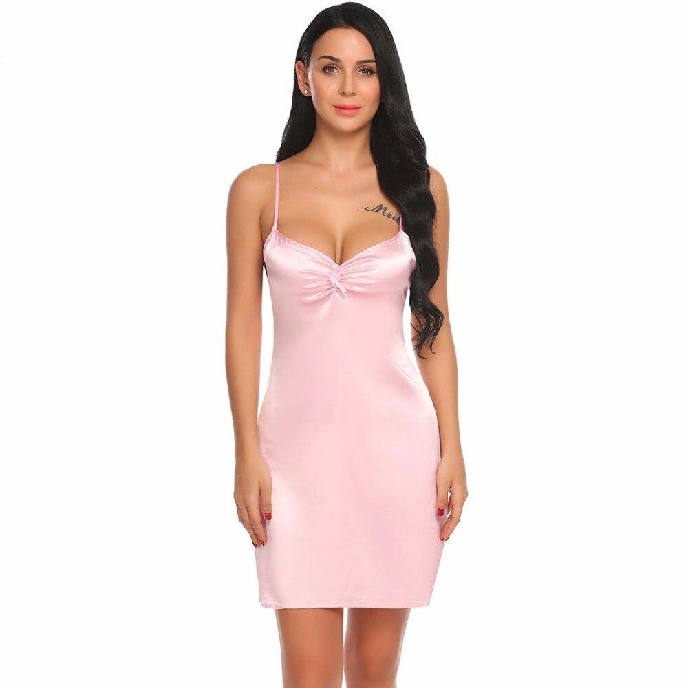 966faa5ec Summer Sexy Satin Nightgown Night Dress Women Deep V-Neck Lace Cross Strap  Backless Babydoll Chemise Sleepwear Female Nightwear