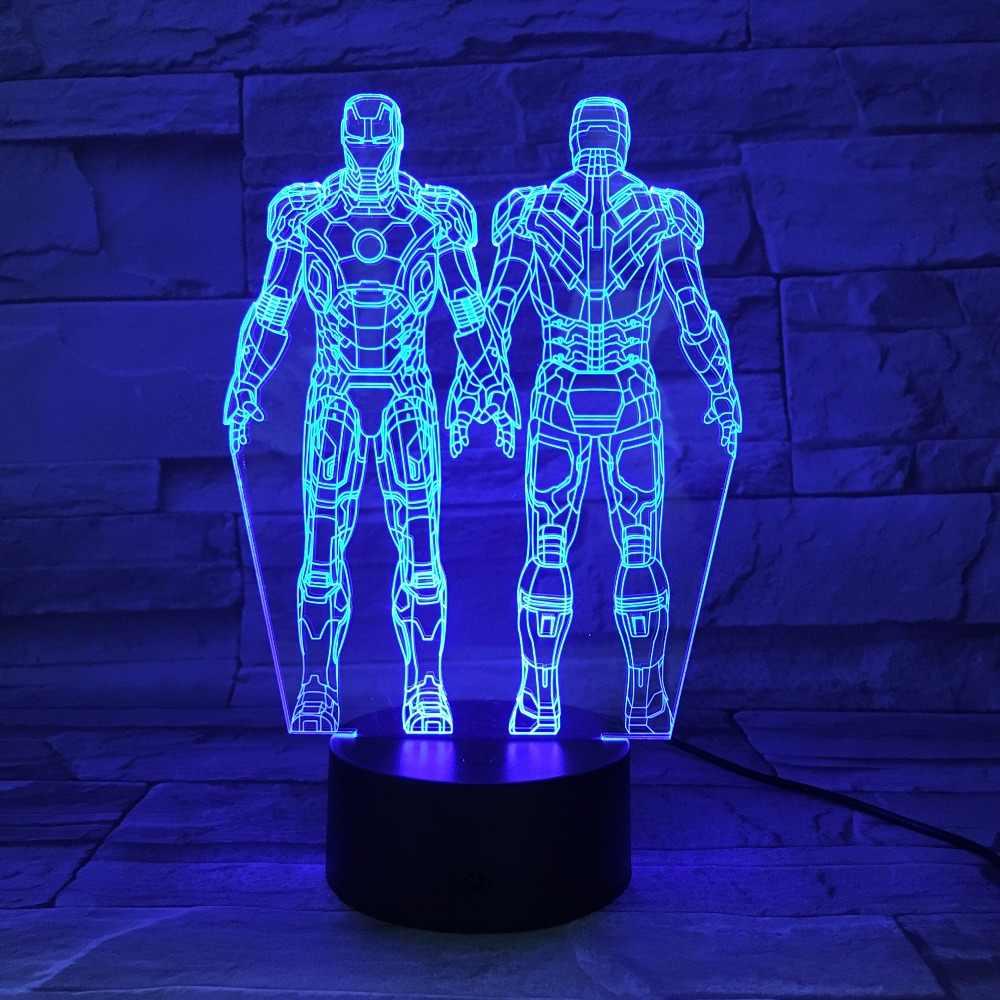 7 Cores Marvel Herói Homem De Ferro 3D Visual LED Luzes Da Noite para As Crianças Mesa de Toque USB Lâmpada de Lava de Dormir Do Bebê Nightlight 3D-681