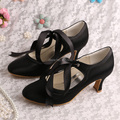 Wedopus Female Bridal Round Toe Ribbon Cone Middle Heel Black Satin Wedding Shoes 6.5CM