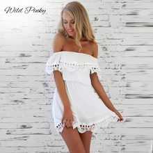 WildPinky 2019 Summer New Fashion Women Elegant Stylish Sexy Slash Neck Casual Vintage Sweet Lace White Dress Slim Beach