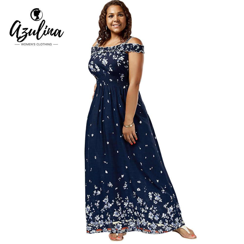da4b71d84d182 AZULINA Plus Size Floral Print Cold Shoulder Maxi Dress Women High Waist  Dresses Bohemian Robe Femme