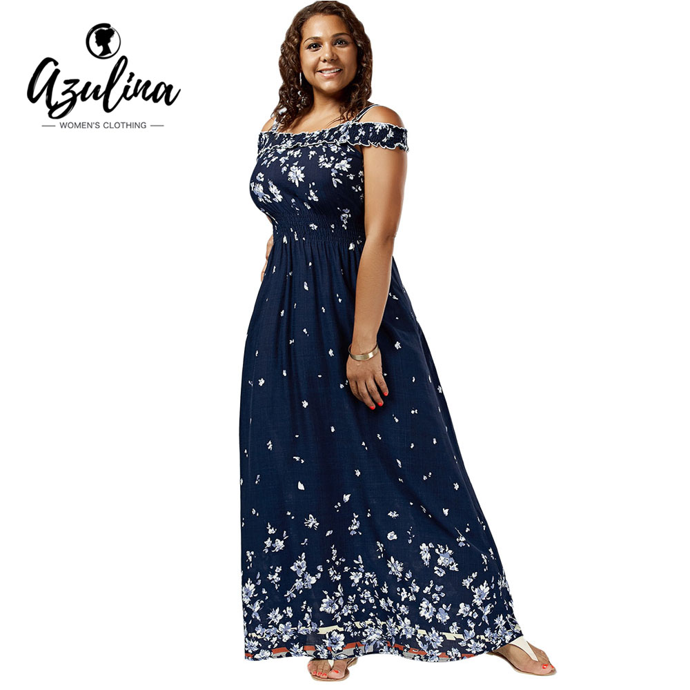 39fee608186 AZULINA Plus Size Floral Print Cold Shoulder Maxi Dress Women High Waist  Dresses Bohemian Robe Femme Short Sleeve Vestidos Mujer-in Dresses from  Women s ...