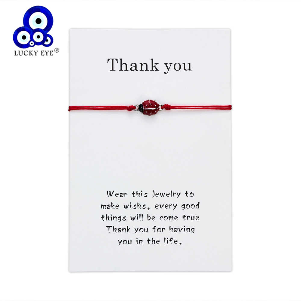 Lucky Eye Ladybug Charm Bracelets For Women Men Wish Card Red Rope Bracelets Braid Jewelry Gift Adjustable CN212