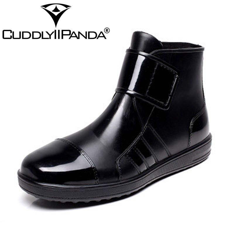 CUDDLYIIPANDA 2018 New Arrival Transparent Rain Boots Men Waterproof Martin Boots Anti-slip PVC Water Shoes Botas zapatos hombre 2017 new anti slip women winter martin