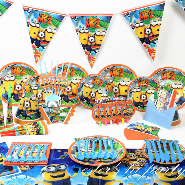 Free Shipping Minions Party Supplies Event Party Supplies Minion Party  Decorations Wedding Favors 84 PCS For