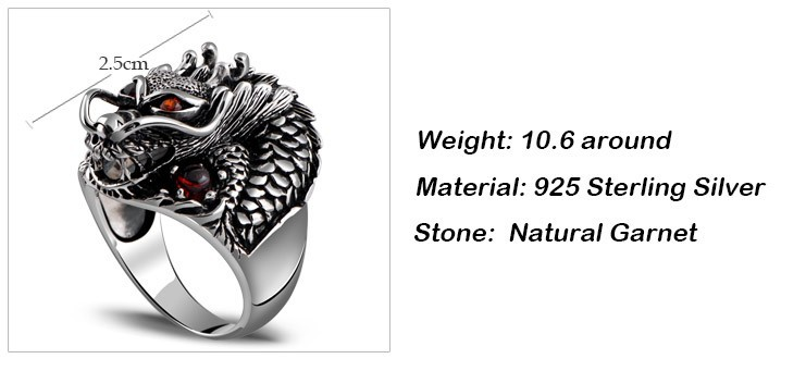 925 Sterling Silver Red Eyes Dragon Ring Measures