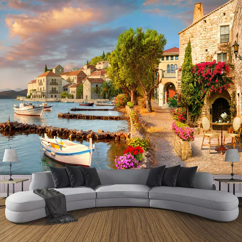 Custom 3D Wallpaper Murals Harbor Small Town Scenery 3D Photo Wall Mural Wallpaper For Living Room Bedroom Background Home Decor