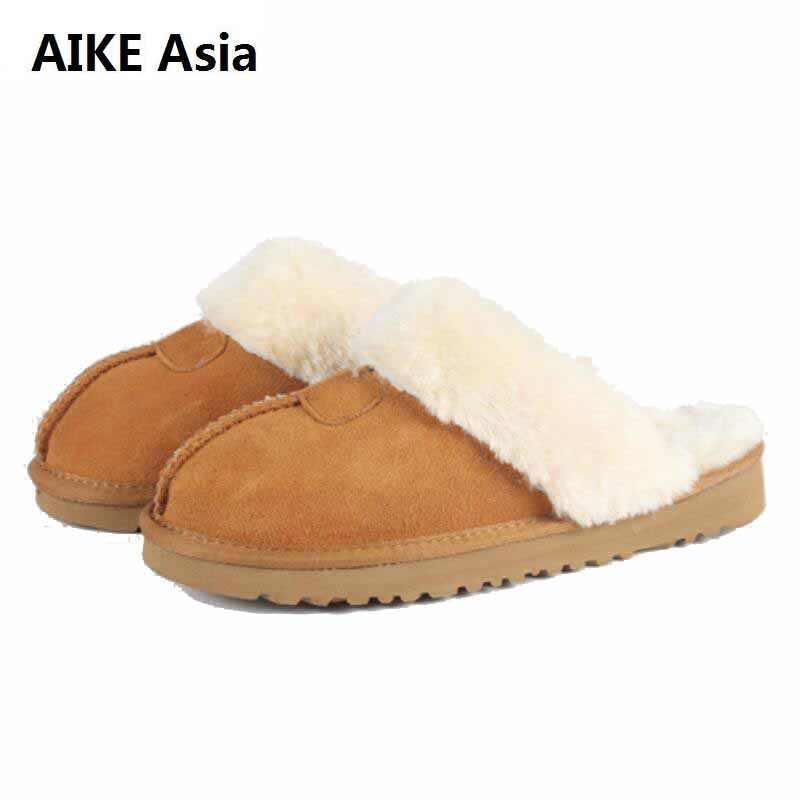 Scarpe da Donna in Australia Pantofole Indoor 100% di Inverno Del Cuoio Genuino Paio di Casa Calda Scarpe Unisex Pantofole di Cotone Zapatos De Mujer