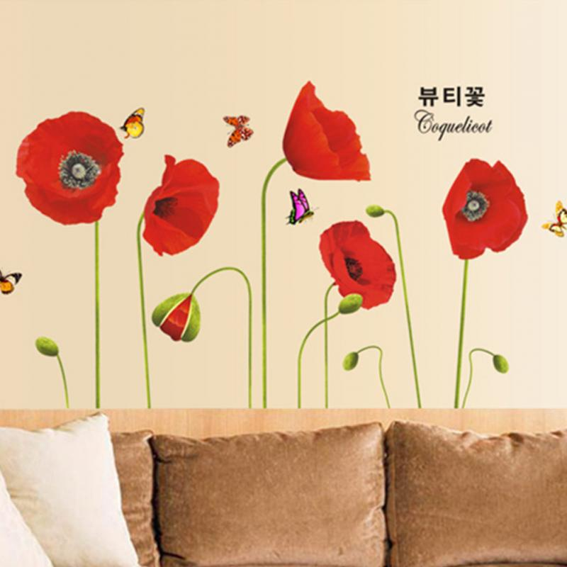 QT 0061 New Red Poppy Removable Art Waterproof Bedroom Wall Stickers ...