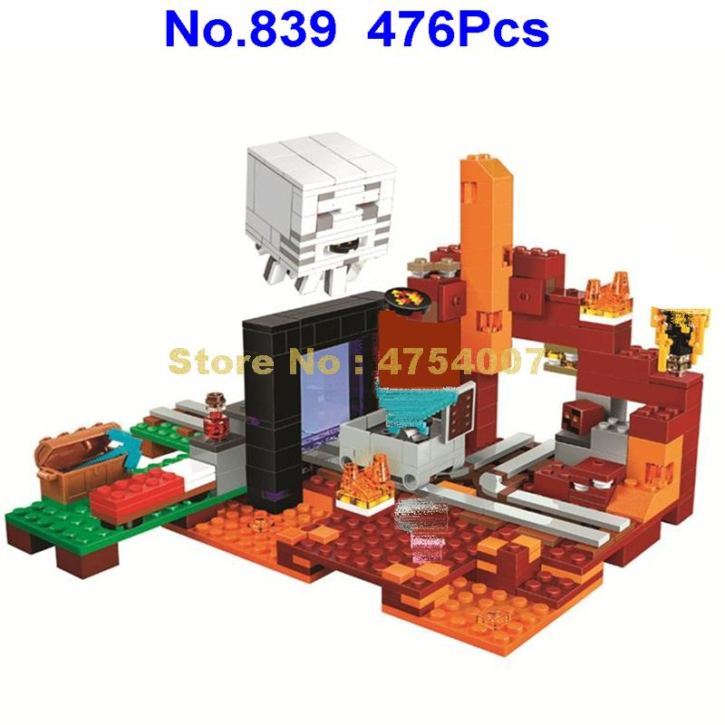 839 476pcs my world the nether hell portal building blocks 3 figures  21143 Toy | Model Building