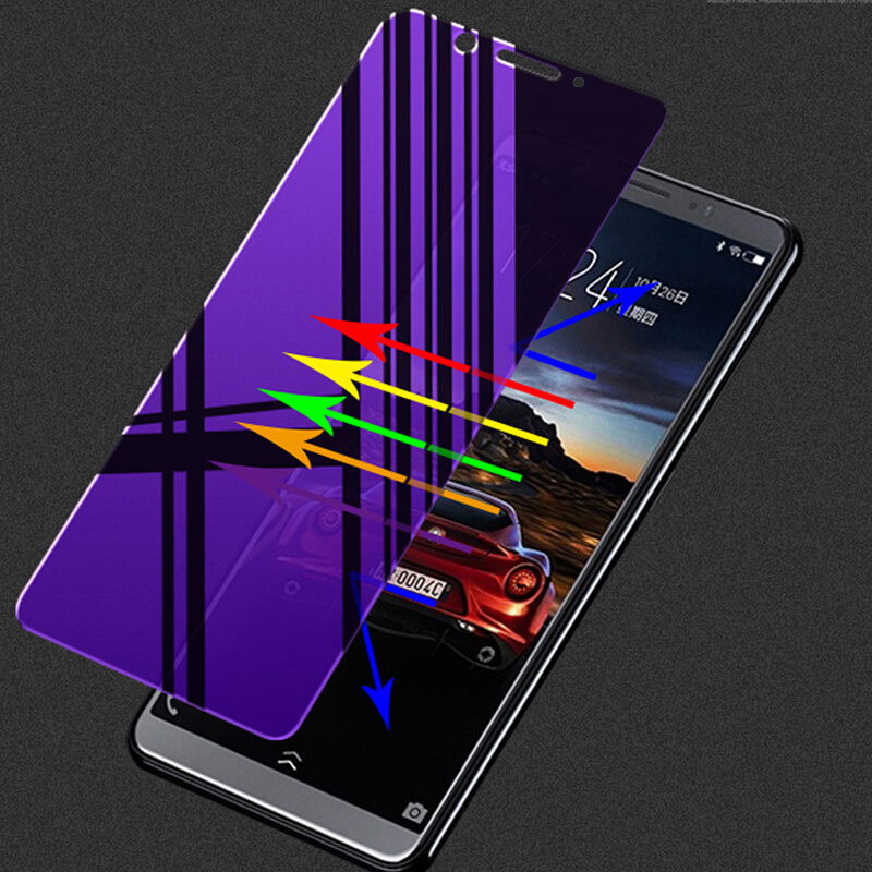 Full Cover Anti Blue Screen Protector for Huawei Honor V8 V9 Play V10 Anti Blue Purple Light Tempered Glass Film for View 20 in Phone Screen Protectors from Cellphones Telecommunications
