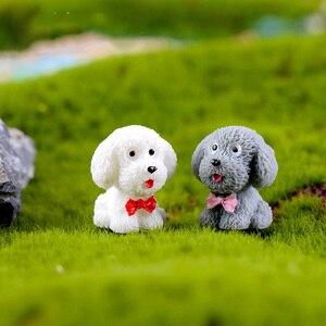 Image 4 - 4 pc/lot chien en peluche Figurine Miniature dessin animé mignon figurines animaux modèles jouet pour animaux bricolage accessoires maison de poupée jouet décoration