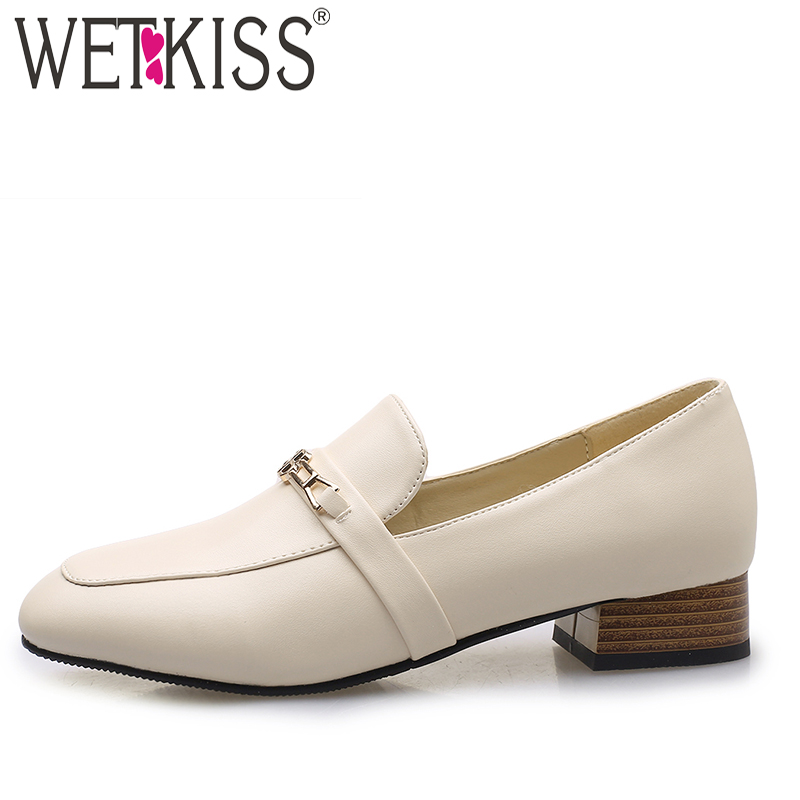 WETKISS Pumps Women Loafers-Shoes Square Spring Thick-Heels Plus-Size New 43 Casual Toe-Footwear